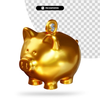 Golden piggy bank with dollar coin 3d rendering isolated