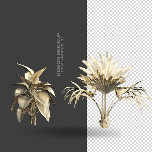 Golden plant interior decoration mockup