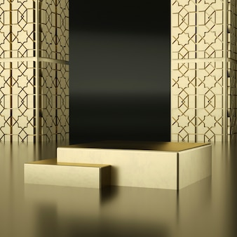 Golden podiums with golden walls with details