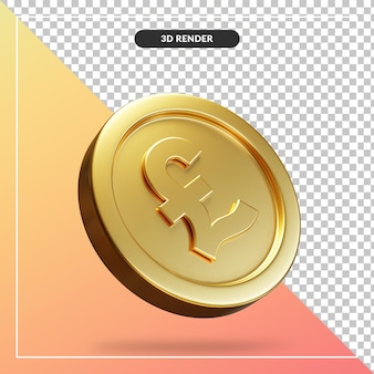Golden pound coin 3d visual isolated