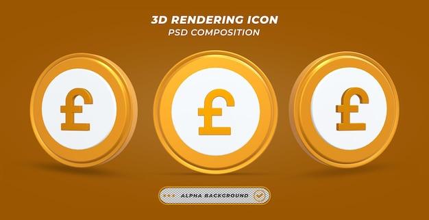 Значок монеты золотой фунт в 3d-рендеринге