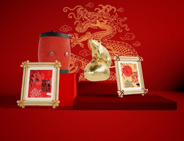 Золотая крыса китайский новый год иллюстрация