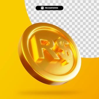 Золотая реальная монета 3d-рендеринга изолированные