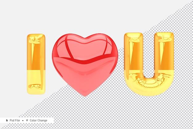 Golden realistic love balloon 3d rendering