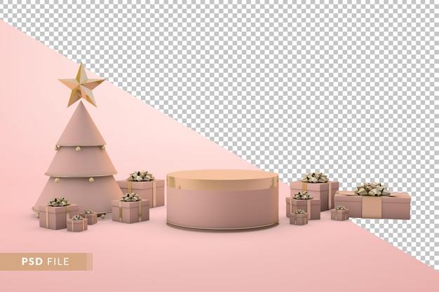 ゴールデンローズ表彰台のクリスマス。 3dレンダリングのリアルな装飾
