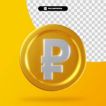 Золотая монета рубль 3d рендеринг изолированные