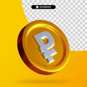 Золотая монета рубль 3d рендеринг изолированные Premium Psd