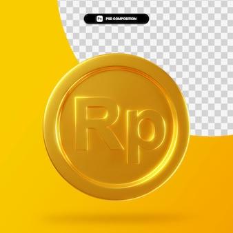 Золотая монета рупия 3d-рендеринга изолированные