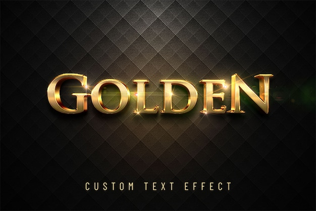 Золотой блестящий эффект 3d текста