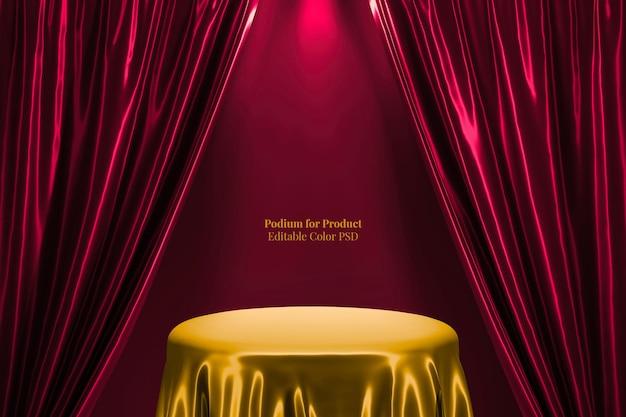 Золотой шелковый атласный круглый подиум 3d-рендеринг