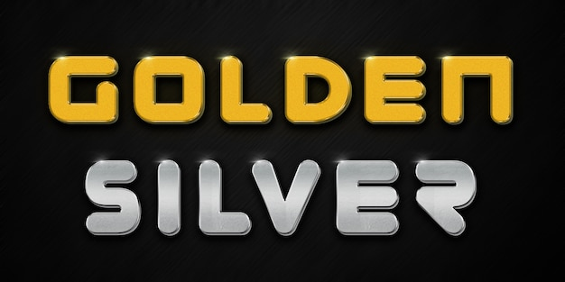 Golden and silver text style effect