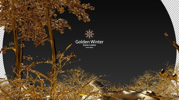 金色の雪と金色の素材で覆われたさまざまな植物