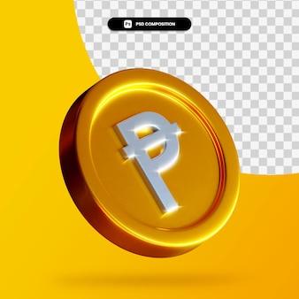 Золотая испанская песета монета 3d-рендеринга изолированные