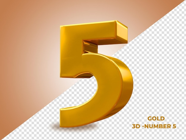 Golden style 3d number 5