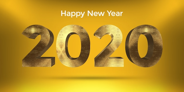 Golden style happy new year 2020 design with yellow