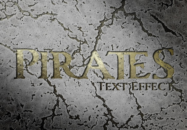 Golden text effect carved into the rock mockup