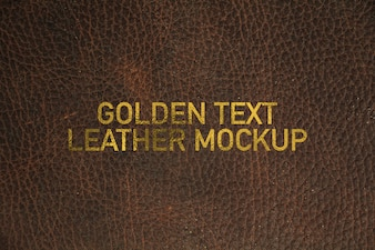 Golden text leather mockup