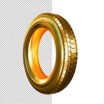 Golden tire isolated illustration