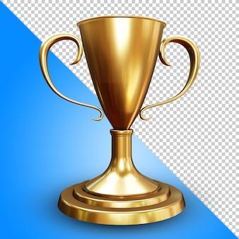 Golden trophy 3d rendering isolated