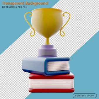 Golden trophy cup standing on the book 3d clipping path