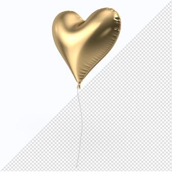 Золотой воздушный шар из фольги в форме сердца в 3d-рендеринге