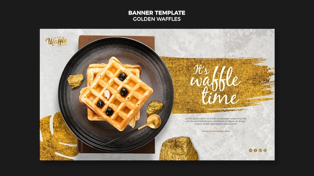 Golden waffles on plate banner template