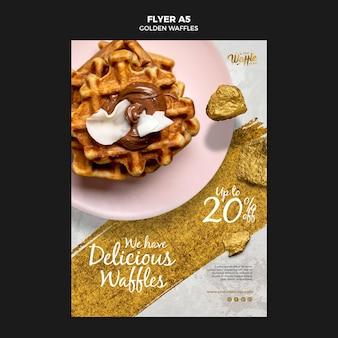 Golden waffles on plate flyer
