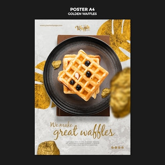 Golden waffles poster template