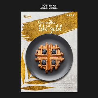 Golden waffles with blueberries poster
