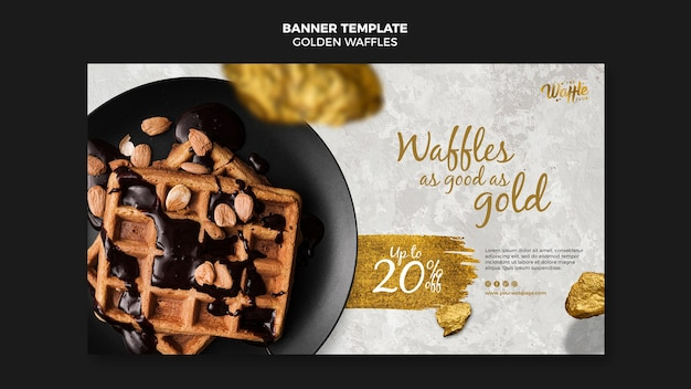 Golden waffles with chocolate and nuts banner