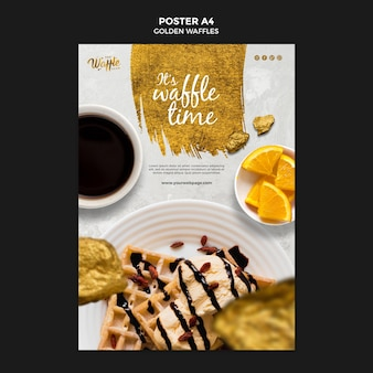Golden waffles with chocolate poster