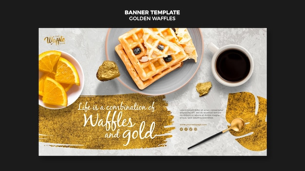 Golden waffles with coffee cup banner template