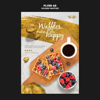 Golden waffles with fruits flyer