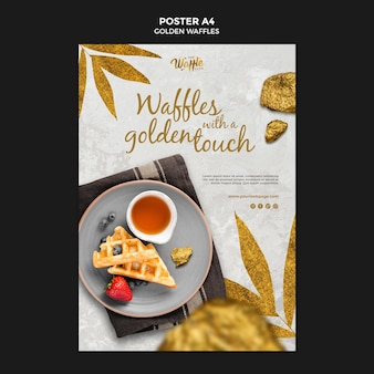 Golden waffles with fruits poster template