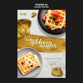 Golden waffles with fruits poster