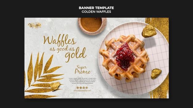 Golden waffles with jam banner template