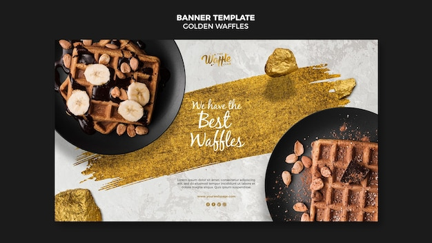 Golden waffles with nuts banner template