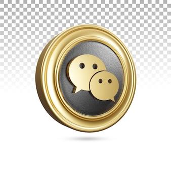 3dレンダリングの黄金のwechatアイコン