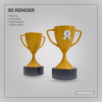 Golden winners trophy realistic isolated 3d render