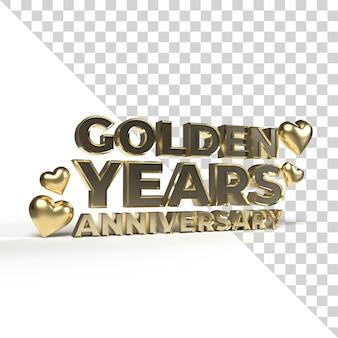 발렌타인과 로맨틱 시즌을위한 황금 년 기념일 3d 렌더링