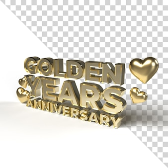 Golden years anniversary for valentine and romantic season 3d render