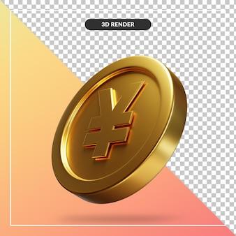 Golden yen coin 3d visual isolated