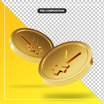 Golden yen coins in 3d render isolated