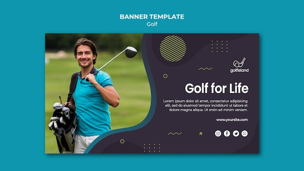 Golf for life banner template design