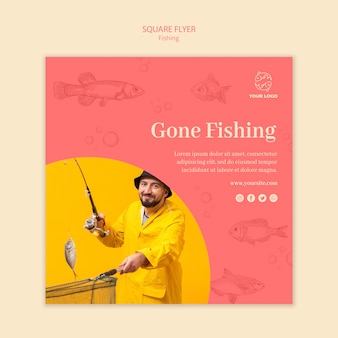 Gone fishing and man square flyer template