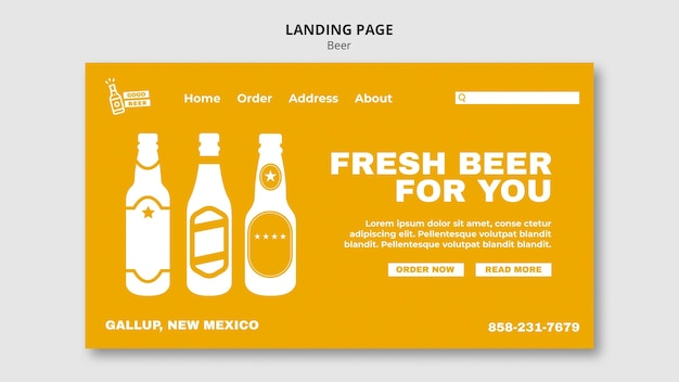 Good beer landing page web template Premium Psd