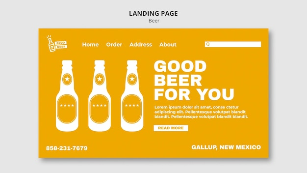Good beer for you landing page web template Premium Psd