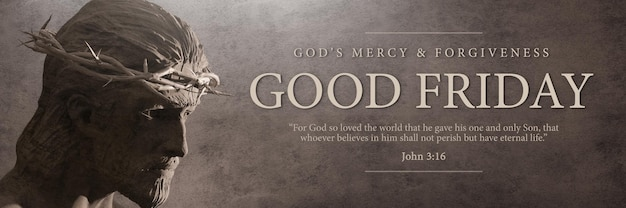 Good friday banner 3d rendering template