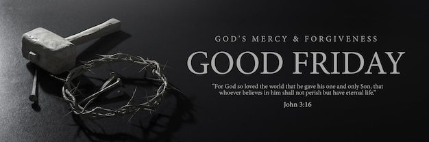 Good friday banner design jesus christ crown of thorns nails and hammer 3d rendering