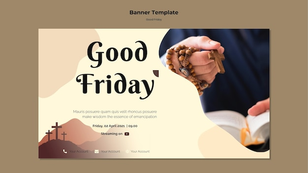 Good friday banner template with photo